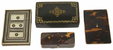 A Victorian tortoiseshell and pique work needle case together with a rectangular lacquer box , a