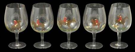 Five large brandy glasses with differing hand-painted hunting scenes, mid 20th century height