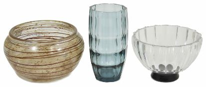 A Hadeland bowl with banded decoration together with a blue glass faceted vase and a Scandinavian