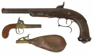 A French Percussion duelling/target pistol Maker:- FNI PAR LE PAGE engraved on the lock, broken
