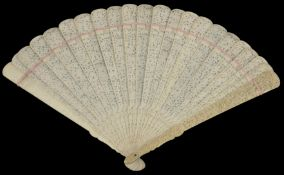 A large early 20th century Chinese Canton carved ivory fan finely carved and pierced on both sides