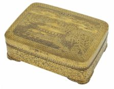 A Japanese iron Komai style box and cover finely decorated with a Fujiyama landscape, Meiji period,