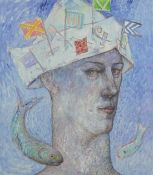 June Carey RSW (20th century) Scottish Visionary, a coloured print of an abstract portrait, signed