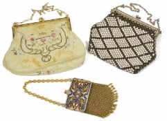 Two small evening bags and a coin purse one evening bag possibly silk with embroidery and some