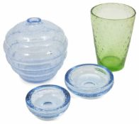 A Whitefriars green glass vase together with two similarly decorated Whitefriars glass dishes and