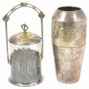 A WMF silver plated and glass jar and cover each modelled in Art Nouveau Jugendstil style together
