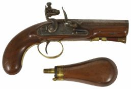 An English flintlock carriage pistol by W. Mills, circa 1820 and associated holster, together with a