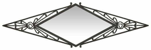 An Art Deco style overmantle metal mirror of pierced form width 105cmCondition: In good condition