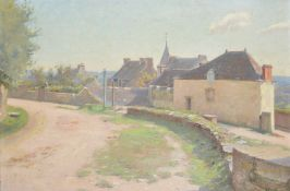 English School, Curved village path with cottages to side, a small oil on canvas, gilt frame 32 x