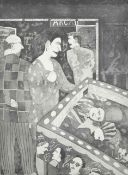 Robert Shaw Pandora at the Pinball table, signed etching, artists proof, signed and dated '86.