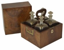 A Georgian mahogany decanter box of square form with recessed brass side handles, the interior