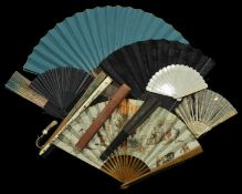 A quantity of 19th and 20th century fans including some with sequins, others with printed paper