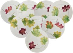 Eight Wedgwood Peal leaf plates each with transfer printed leaf pattern, each with impressed mark