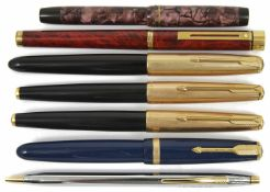 A collection of fountain pens and others to include a Sheaffer, three Parker, a Parker Duofold, a