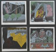 Alan Comf. A set of four framed coloured prints. Signed and dated 84. Each 20 x 20 cm. Condition: