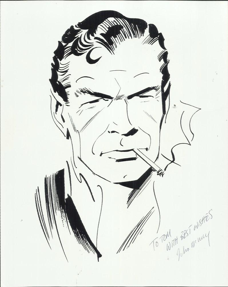 James Bond art black and white photograph, taken from a drawing of James Bond by artist John