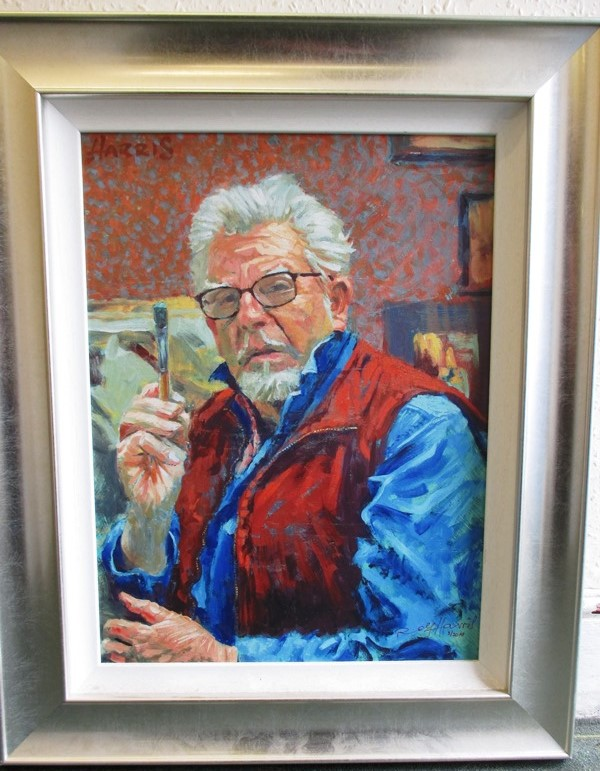 A framed limited edition print self portrait of Rolf Harris from national exhibition tour 2010