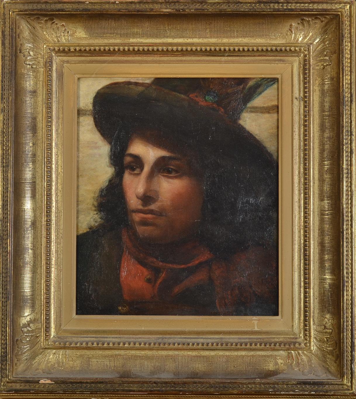 ANNIE LOUISA SWYNNERTON Portrait of a Young Italian Man Oil on canvas Signed 36 x 30.5cm