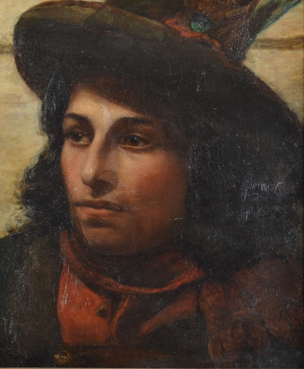ANNIE LOUISA SWYNNERTON Portrait of a Young Italian Man Oil on canvas Signed 36 x 30.5cm - Image 2 of 2