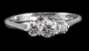 Ladies Platinum Set Three Stone Diamond