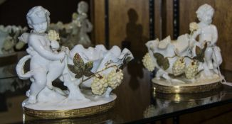 Moore Brothers Pair of Cherub Bowls with