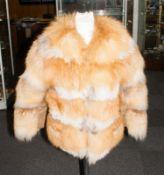 Ladies Red Fox Fur Jacket, fully lined,