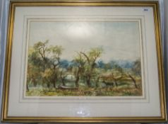 Framed Watercolour Country Landscape Wit