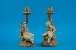 Royal Worcester Pair of Figural Polychro