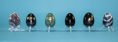 An Interesting Set of Six Egg Shaped Hand Ground and Polished Mineral Large Stone,