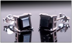 Black Spinel Square Stud Earrings, 1ct of the glossy black gemstone, in a simple square cut, set