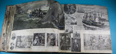 Large Victorian Scrap Album Containing Hundreds Of Newspaper Leaflet Illustrations, Some Hand