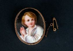 Victorian Oval Shaped 9ct Gold Framed Brooch With Painted Miniature Of A Young Boy 1.75'' in