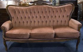 Italian 19thC Style Camel Back Sofa, Pink Upholstered Button Back With Cushion Seats. Wooden Frame.
