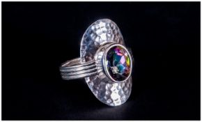 Northern Lights Mystic Topaz Ring, bezel set 2.5ct topaz, with an exotic mix of purple and green