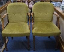 Two 20thC Open Arm/Carver Chairs, Padded Back And Seats, Square, Tapered, Fluted Front Legs,