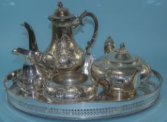Antique Silver Plated 5 Piece Tea and Coffee Service.