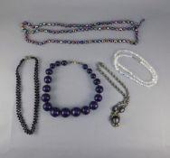 Triple Strand Purple Aurora Borealis Crystal Bead Necklace, single row clear AB bead necklace,