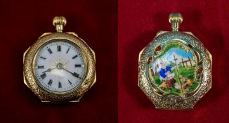 Swiss Fine 15ct Gold and Enamel Octagonal Shaped Ladies Fob Watch. Marked 625 - 15ct.