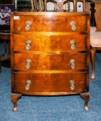 Early To Mid 20thC Walnut Chest Of Drawers, Bow Fronted Form With 4 Long Drawers Raised On Short