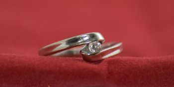 Ladies 9ct White Gold Single Stone Diamond Ring. Fully Hallmarked. Diamond Weight 10 pts.
