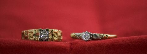 Ladies 9ct Gold Set Single Stone Diamond Rings. Fully Hallmarked. ( 2 ) Rings In Total. 4.6 grams.