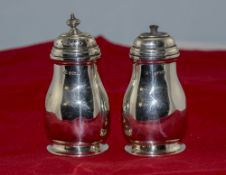 Art Deco Pair of Silver Salt and Pepperette Pots. Hallmark Birmingham 1937. 5 ozs 6 grams.