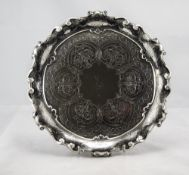 Edwardian - Quality Silver Salver with Engraved Decoration and Ornate Border. Gibson Ltd Belfast.