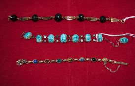 Vintage Stone Set Bracelets ( 3 ) In Total. Various Lengths and Styles.