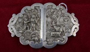 Antique Anglo Indian Silver Belt Buckle, with Hunting Scenes - Figures In High Relief. 4.