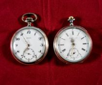 Early 20th Century Pair of Silver Open Faced Pocket Watches, with White Porcelain Dials. Marked 800.