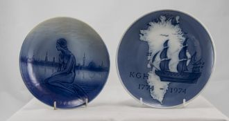 Royal Copenhagen Pair of Cabinet Plates, Hans Christian Anderson - The Little Mermaid and The 1774-