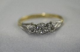 18ct Gold and Platinum 3 Stone Diamond Ring. Marked 18ct and Plat.