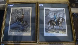 Pair Of French Framed Coloured Engravings, Johann Elias Ridinger,  12x8 Inches