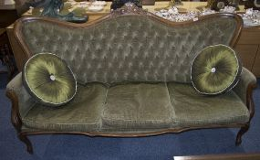 Victorian Camel Back 3 Seater Sofa, Green Upholstered Button Back With 3 Cushioned Seats, Carved